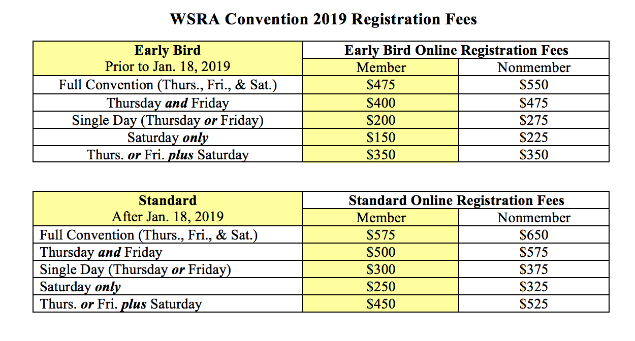 2019 Convention Registration Fees